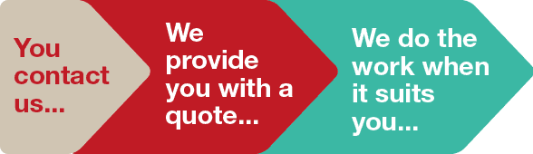 you contact us... We provide you with a quote... We do the work when it suits you...